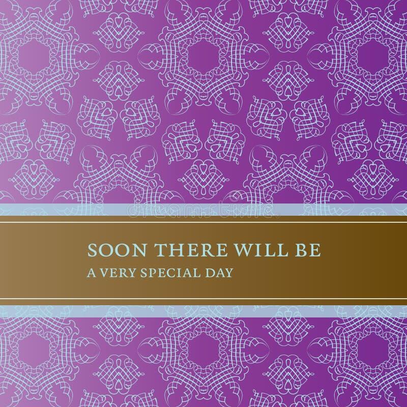 De kaart van de uitnodiging met kantpatroon en banner royalty-vrije illustratie