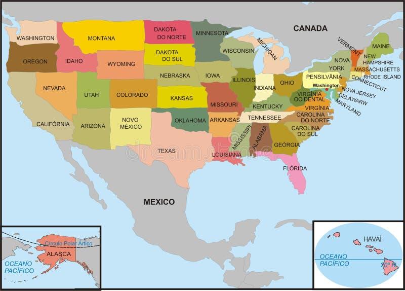 De kaart van de V.S. royalty-vrije illustratie