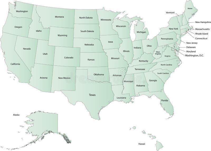 De kaart van de V.S. stock illustratie