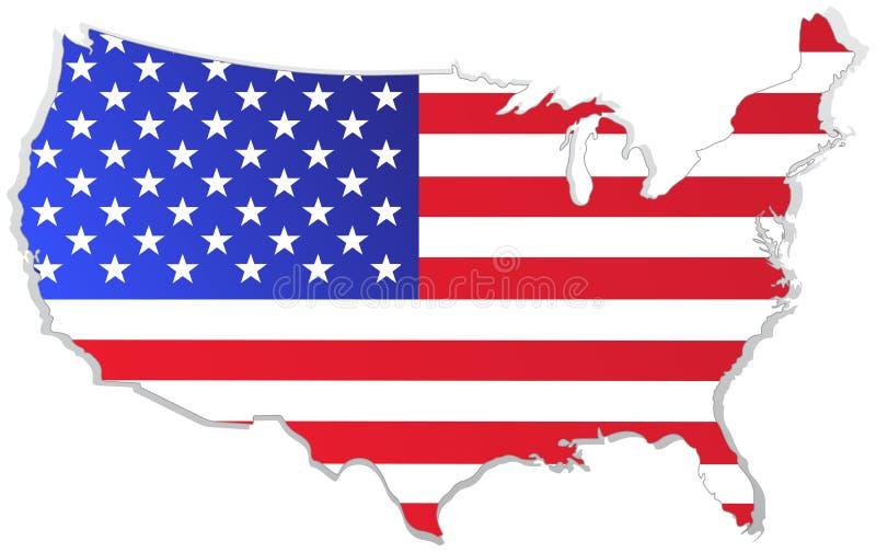 De kaart van de V.S. met vlag royalty-vrije illustratie
