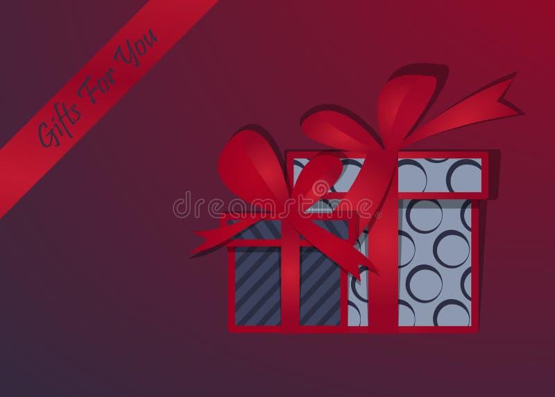 De kaart van de vakantieuitnodiging met stelt voor Gelukkige Kerstmis Doos met een feestelijk Gelukkig Nieuwjaar Vector illustrat royalty-vrije illustratie