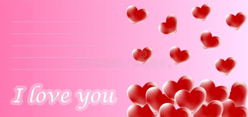 De kaart van de valentijnskaart vector illustratie