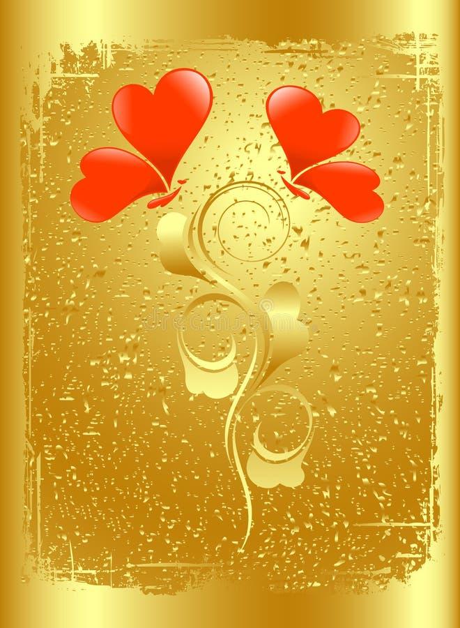 De kaart van de Valentijnskaart in goud. stock illustratie
