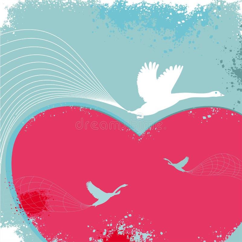 De kaart van de valentijnskaart met vogels stock illustratie