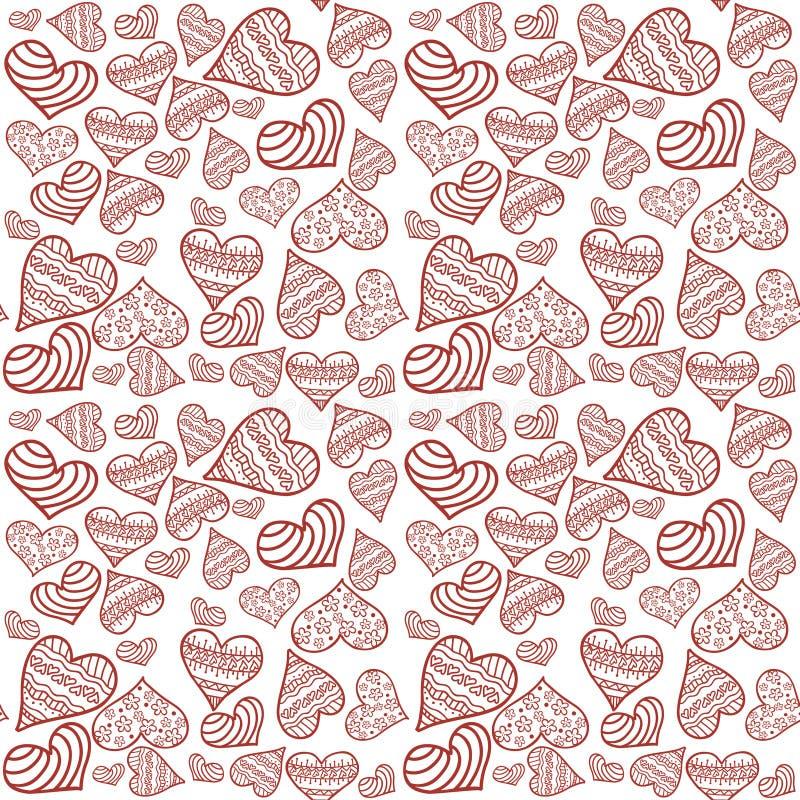 De kaart van de valentijnskaart `s Naadloos patroon met witte achtergrond en rode harten royalty-vrije illustratie