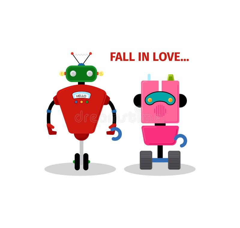 De kaart van de valentijnskaartendag met robots royalty-vrije illustratie