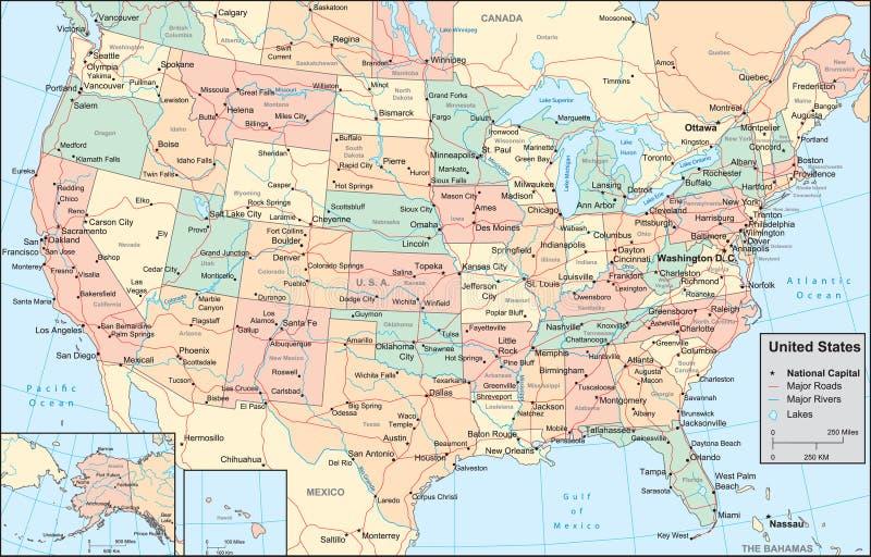 De kaart van de Verenigde Staten van Amerika stock illustratie
