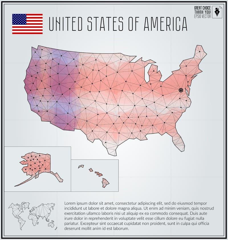 De kaart van de Verenigde Staten van Amerika in geometrische veelhoekige stijl Veelhoekige abstracte wereldkaart stock illustratie