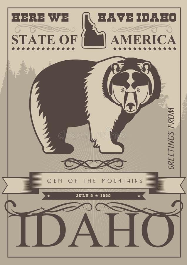 De kaart van de Verenigde Staten van Amerika met beer in uitstekende stijl stock illustratie