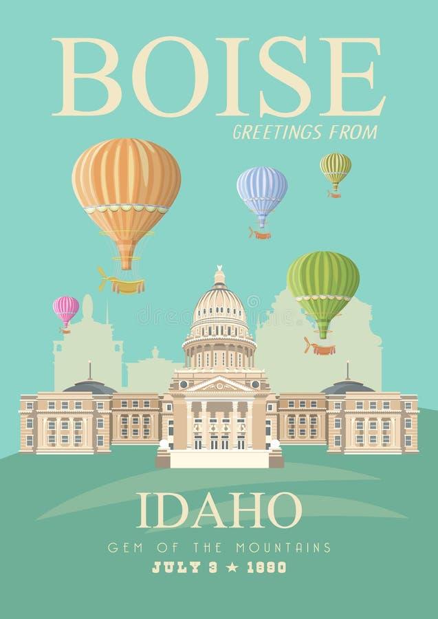 De kaart van de Verenigde Staten van Amerika met de ballons van Boise en van de hete lucht royalty-vrije illustratie