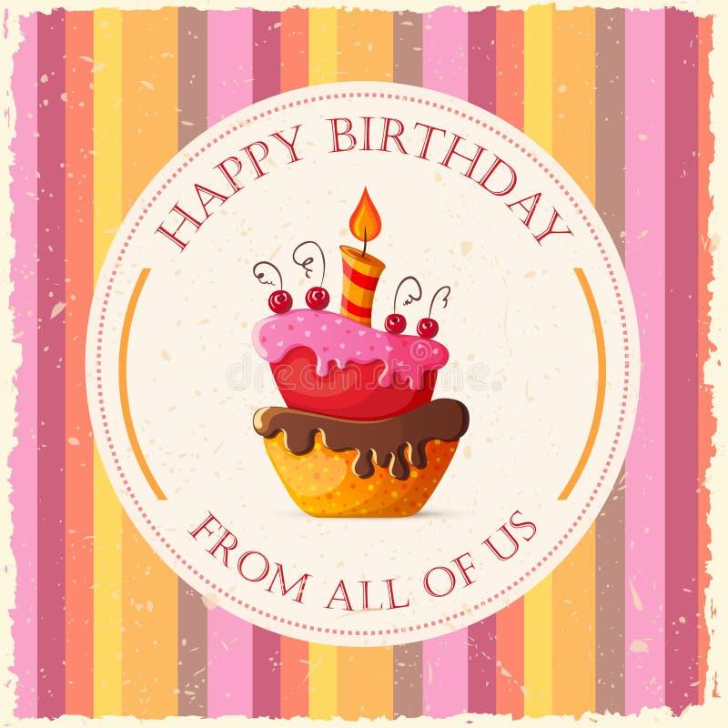De Kaart van de verjaardag met Cake royalty-vrije illustratie