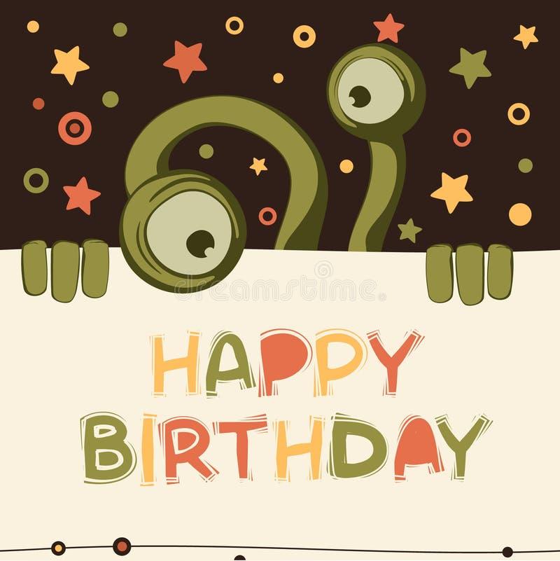 De kaart van de verjaardag met leuk monster stock illustratie