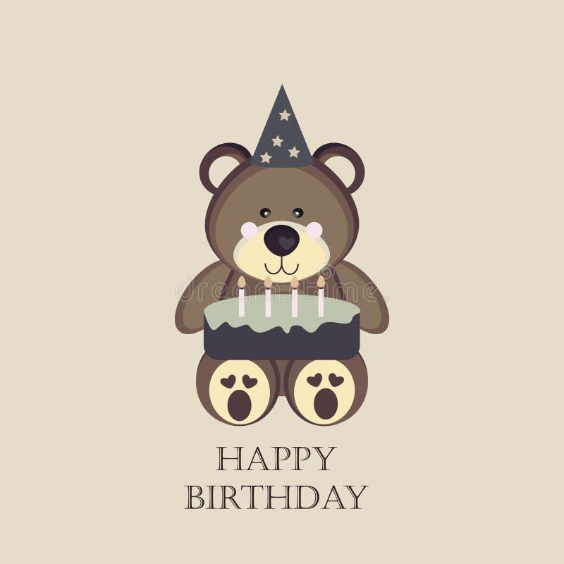 De kaart van de verjaardag met teddybeer stock foto's