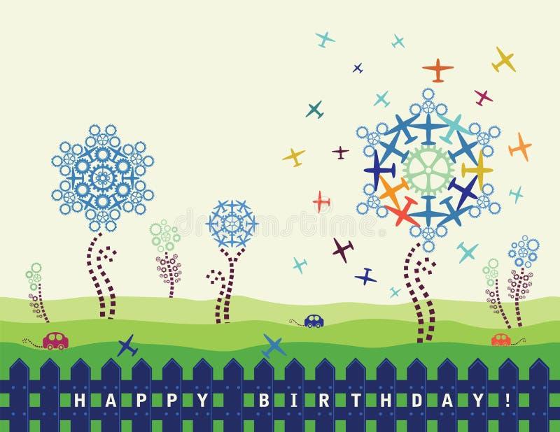 De kaart van de verjaardag met vliegtuigen en radertjes vector illustratie
