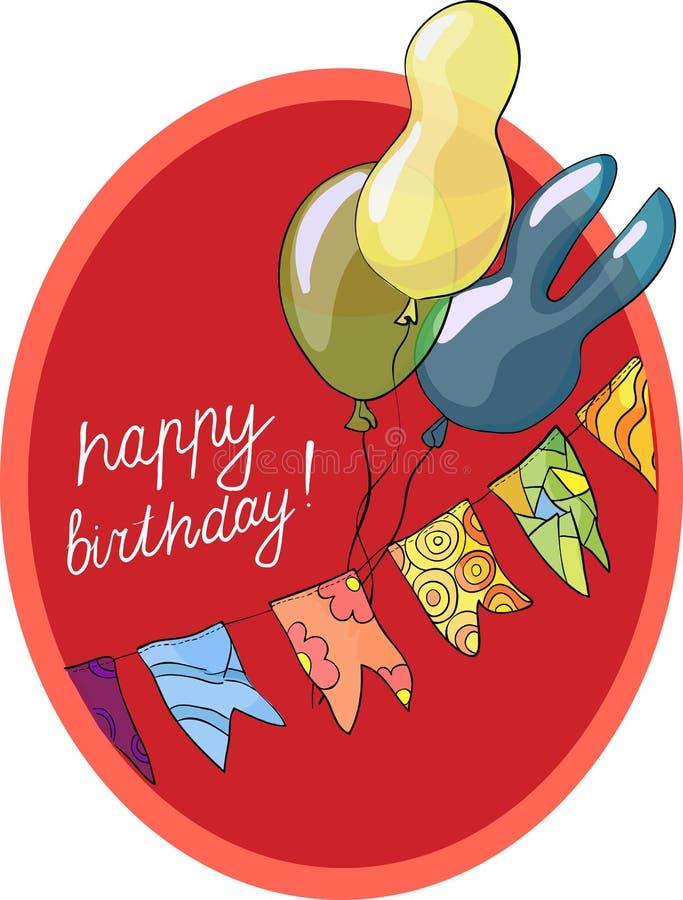 De kaart van de verjaardagsgroet met ballen, vectorillustratie stock illustratie