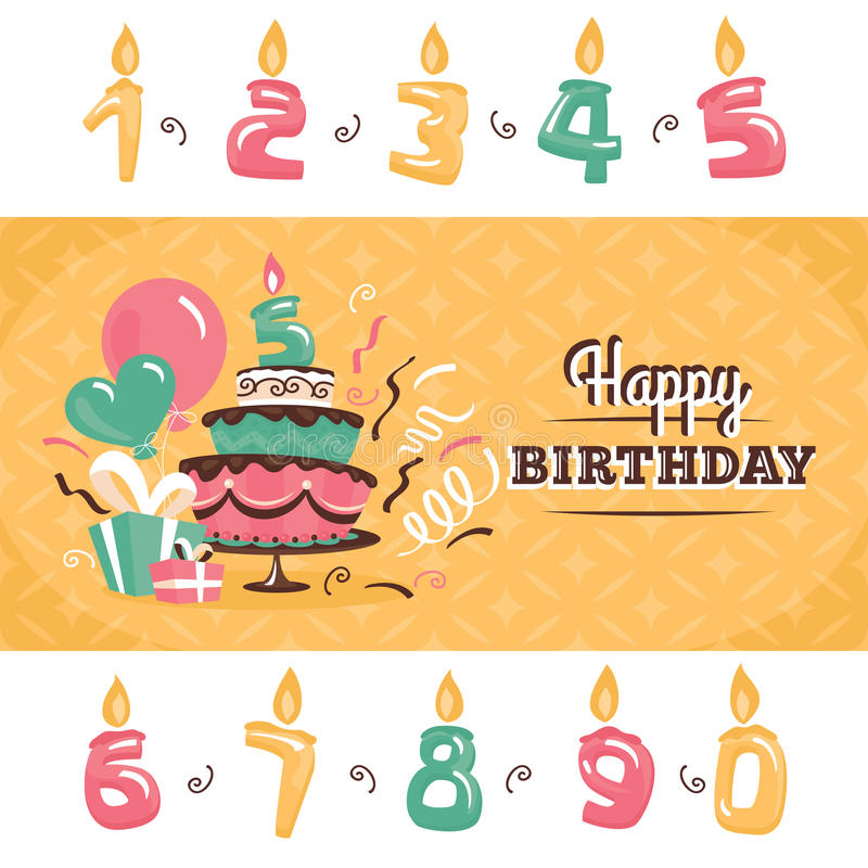 De kaart van de verjaardagsgroet met grote cake vectorillustratie vector illustratie