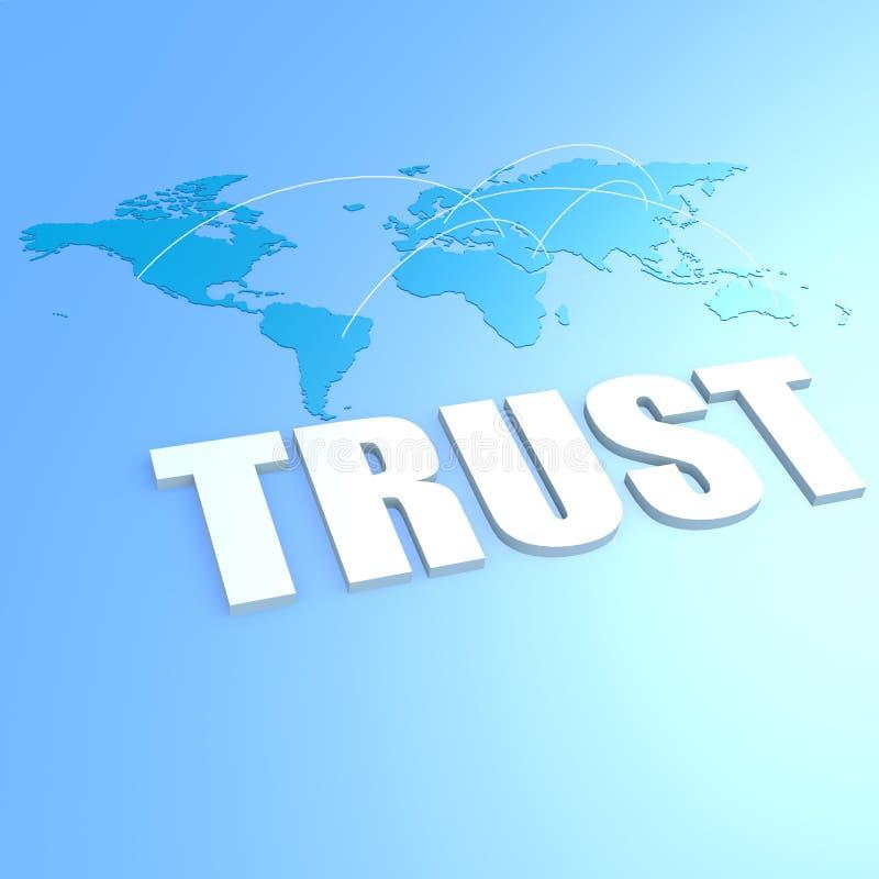 De kaart van de vertrouwenswereld royalty-vrije illustratie