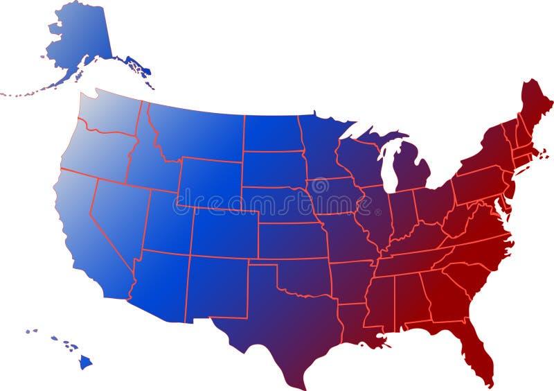 De Kaart van de Vlag van de V.S. vector illustratie