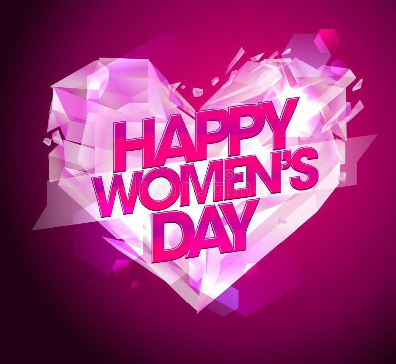 De kaart van de vrouwen` s dag met diamanthart vector illustratie