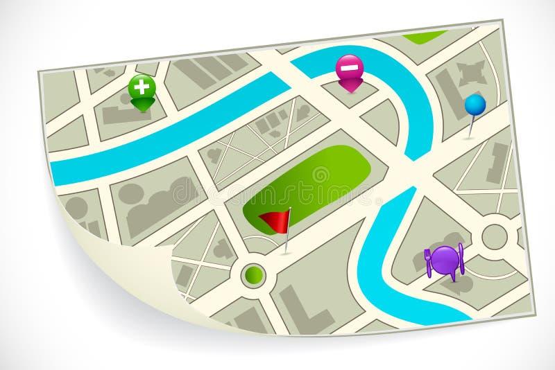 De Kaart van de wegroute royalty-vrije illustratie