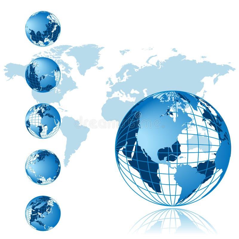 De kaart van de wereld, 3D bolreeks royalty-vrije illustratie