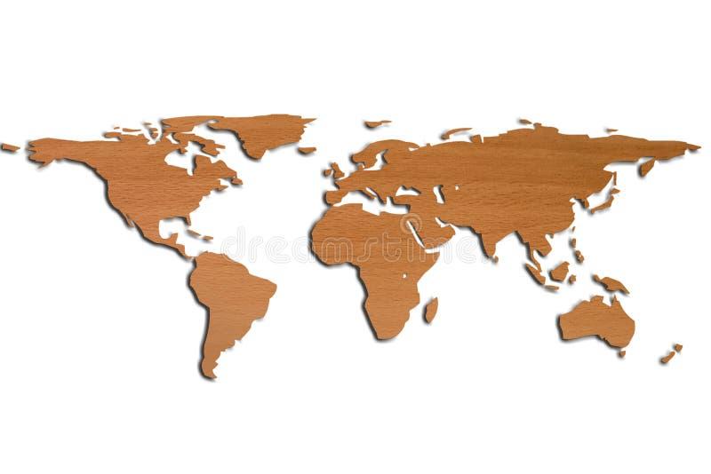 De Kaart van de wereld in 3D en houten stock afbeeldingen