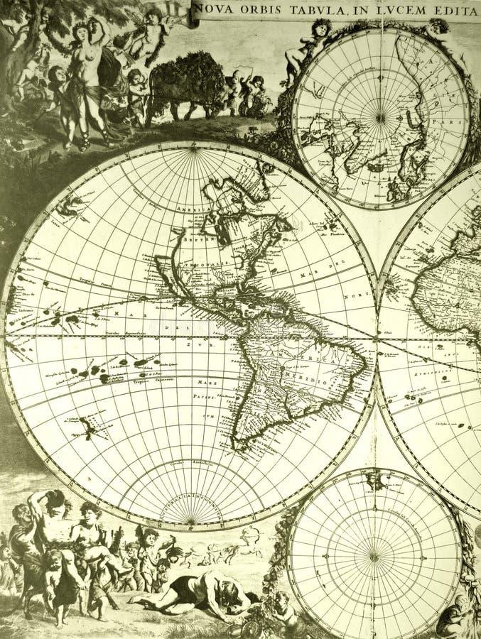 De Kaart Van De Wereld, Antiquiteit Stock Afbeelding