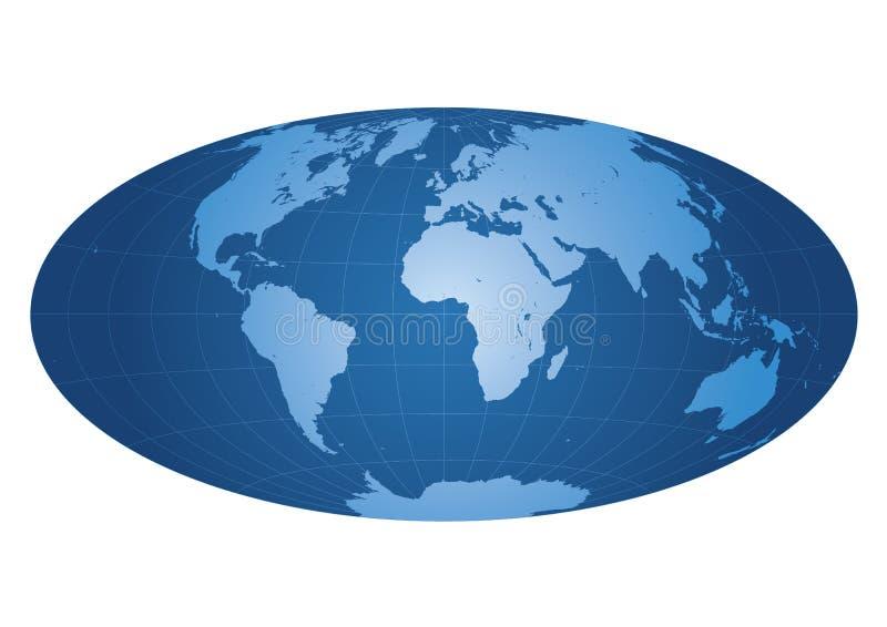 De kaart van de wereld die op Afrika wordt gecentreerd vector illustratie