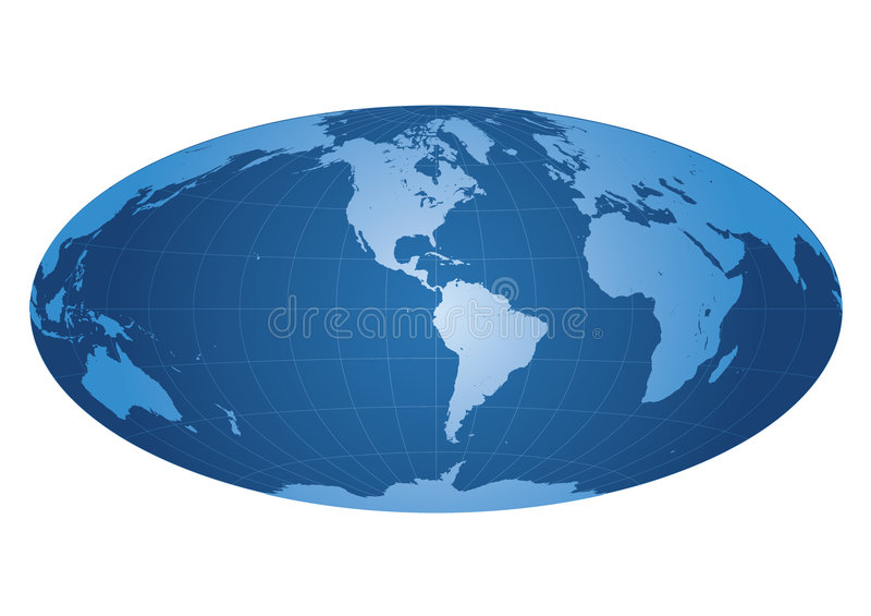 De kaart van de wereld die op Amerika wordt gecentreerd vector illustratie