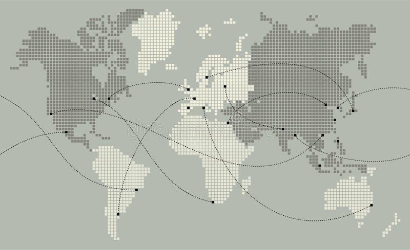 De kaart van de wereld die uit kleine vierkanten wordt gemaakt royalty-vrije illustratie