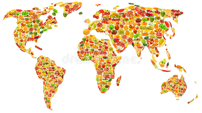 De kaart van de wereld die van vruchten en groenten wordt gemaakt stock afbeeldingen
