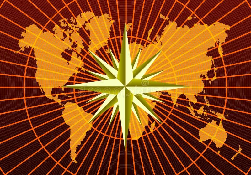 De kaart van de wereld en windroos stock afbeeldingen
