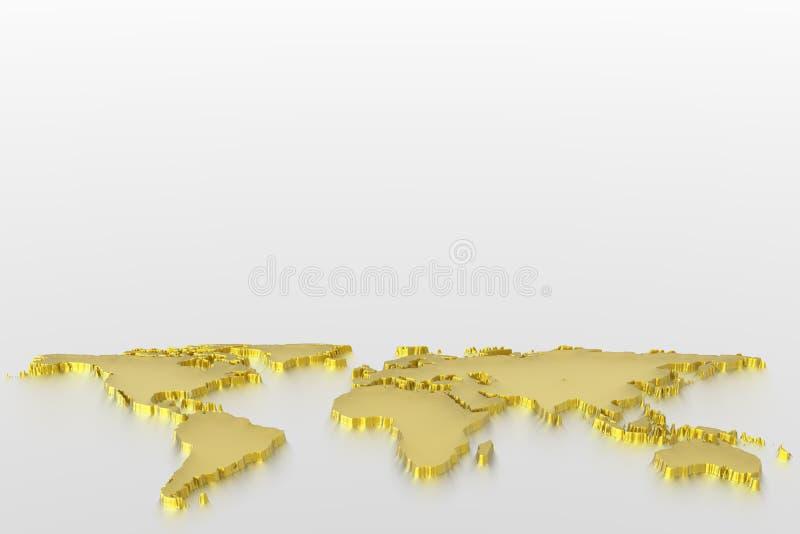 De kaart van de wereld in goud