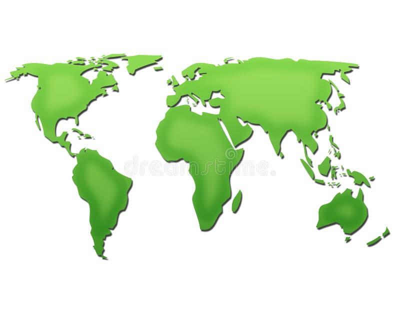 De kaart van de wereld in groen royalty-vrije illustratie