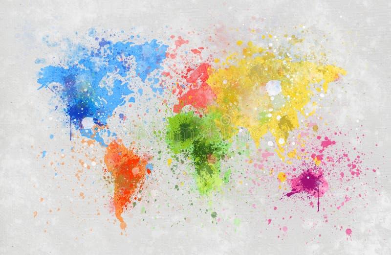 De kaart van de wereld het schilderen stock illustratie