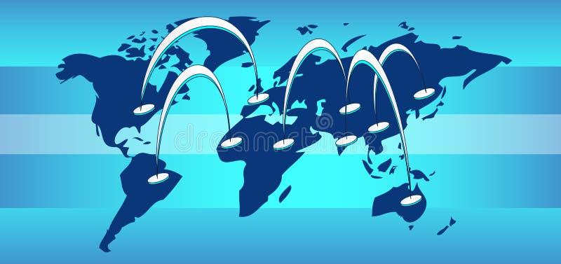 De kaart van de wereld met aansluting lijnen stock illustratie
