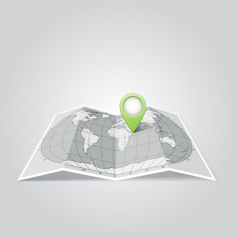 De kaart van de wereld met de Wijzer van de Spelden van de Kaart vector illustratie