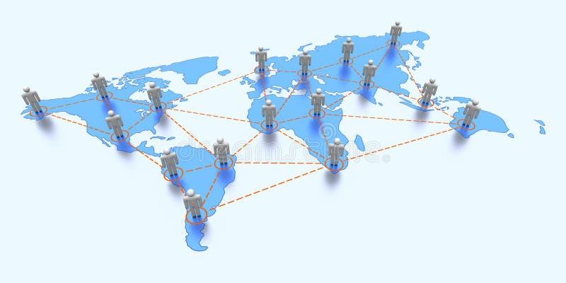 De kaart van de wereld met globale mededeling vector illustratie