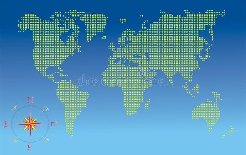 De kaart van de wereld met kompas vector illustratie