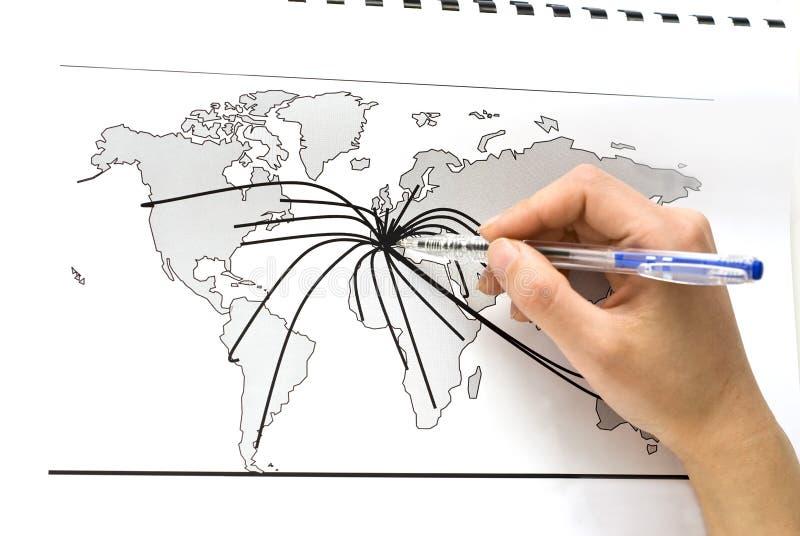 De kaart van de wereld met lijnen tussen de steden van de wereld royalty-vrije stock fotografie