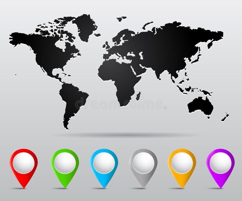 De kaart van de wereld met spelden vector illustratie