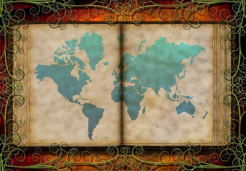 De kaart van de wereld op antiek boek stock illustratie