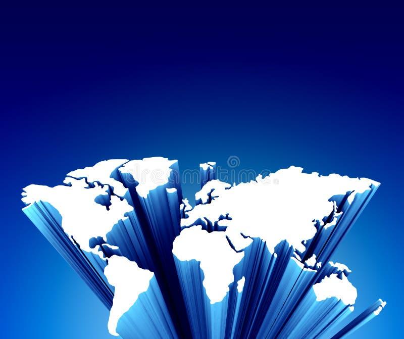 De kaart van de wereld op blauw vector illustratie