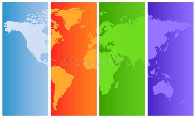 De kaart van de wereld op gekleurde panelen vector illustratie