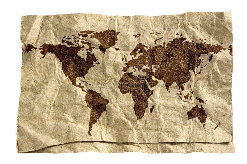 De kaart van de wereld op grungedocument stock illustratie