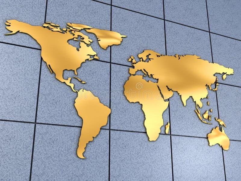 De kaart van de wereld op muur royalty-vrije illustratie