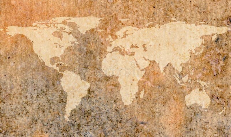 De kaart van de wereld op oud document stock illustratie