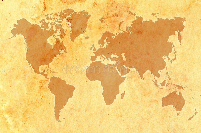 De kaart van de wereld op oud grungy document vector illustratie