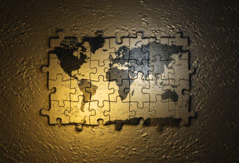 De kaart van de wereld op raadsel vector illustratie