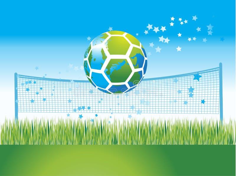 De kaart van de wereld op voetbalbal, natu vector illustratie